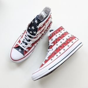 Converse Shoes - Converse CTAS Hi Red/White/Blue Studded Flag